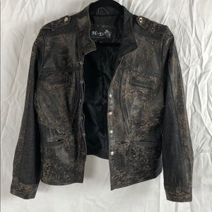H & D Classic Leather Collection Moto Jacket
